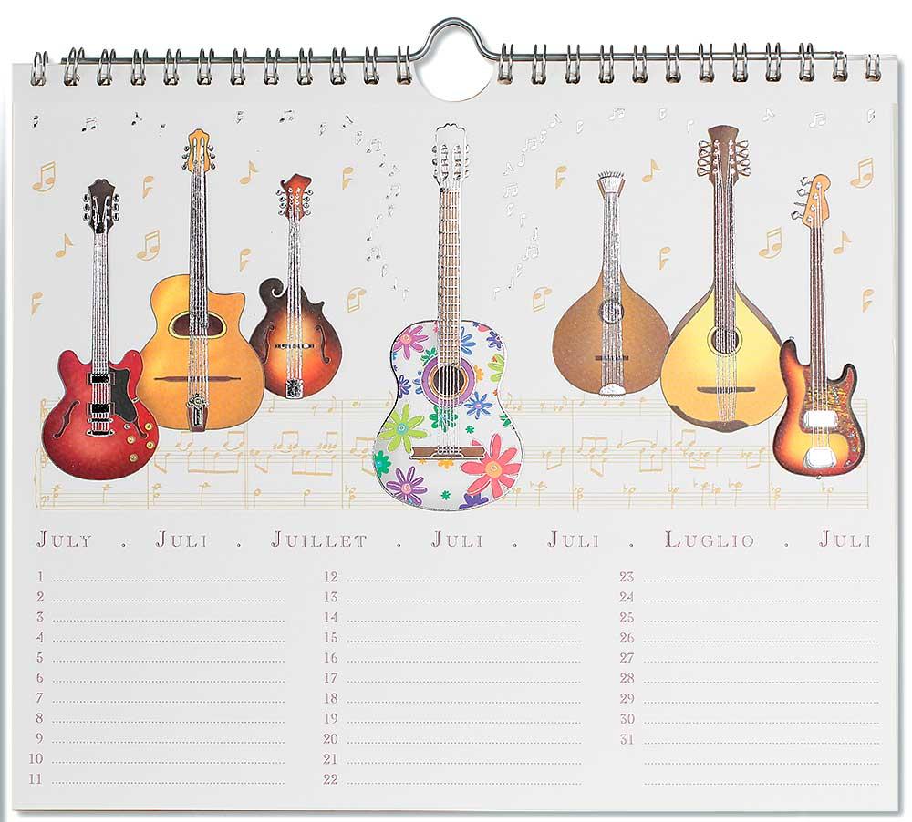 perpetuel calendar of music instruments