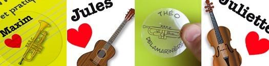 """Étiquettes """"j'aime un instrument"""" à personnaliser"""
